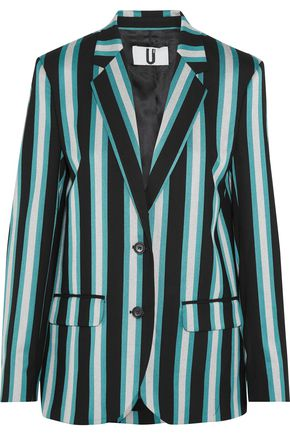 TOPSHOP UNIQUE Beale striped satin-twill blazer