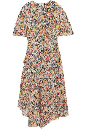 TOPSHOP UNIQUE Aster ruffled floral-print silk crepe de chine midi dress