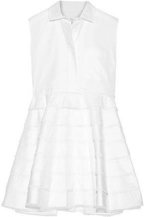 CARVEN Tiered guipure lace-trimmed cotton-twill mini dress