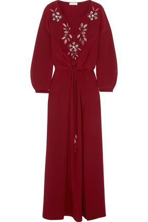 TORY BURCH Michaela embellished silk maxi dress