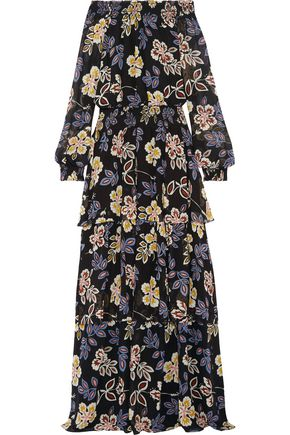 TORY BURCH Indie tiered printed silk-georgette maxi dress