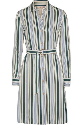TORY BURCH Villa striped satin-twill dress