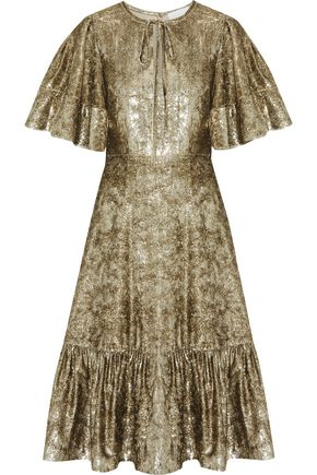 CO Ruffled metallic velvet dress