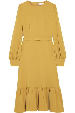 CO Belted ruffled crepe dress