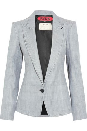 RONALD VAN DER KEMP Leather-trimmed denim blazer