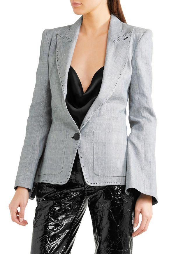 Leather-trimmed denim blazer | RONALD VAN DER KEMP | Sale up to 70% off |  THE OUTNET