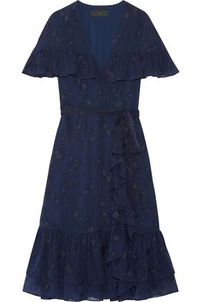 CO Ruffled wrap-effect fil coupé silk-chiffon dress
