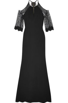 ROLAND MOURET Cold-shoulder lace-paneled stretch-crepe gown