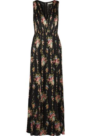 ALICE + OLIVIA Ava lace-paneled floral-print silk maxi dress