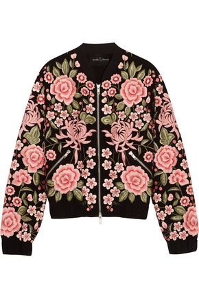 NEEDLE & THREAD Embroidered embellished crepe bomber jacket
