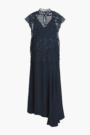 BIYAN Ananda asymmetric embellished guipure lace-trimmed crepe dress