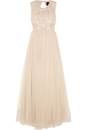 NEEDLE & THREAD Prairie open-back embellished chiffon and tulle gown