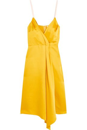 VICTORIA BECKHAM Draped silk-blend satin dress