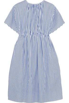 VICTORIA, VICTORIA BECKHAM Gathered striped cotton dress