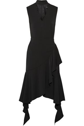GOEN.J Wrap-effect asymmetric ruffled crepe dress