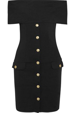 PIERRE BALMAIN Off-the-shoulder stretch-jersey mini dress