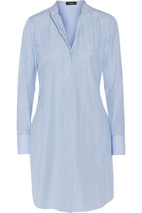 THEORY Striped cotton-poplin shirt dress