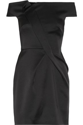 ROLAND MOURET Off-the-shoulder double-faced satin mini dress