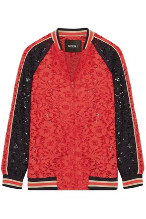 GOEN.J Cotton-blend corded lace bomber jacket