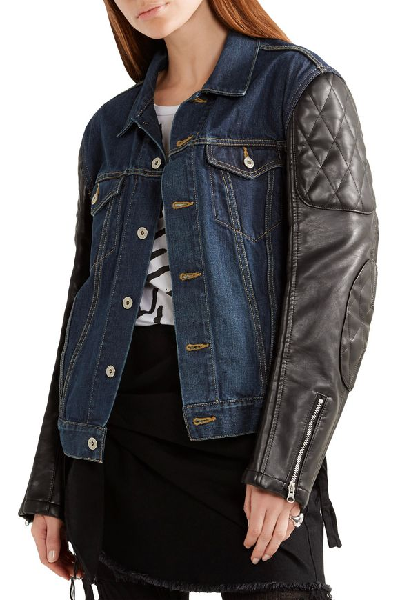 Printed denim and quilted faux leather jacket | JUNYA WATANABE COMME des  GARÇONS | Sale up to 70% off | THE OUTNET