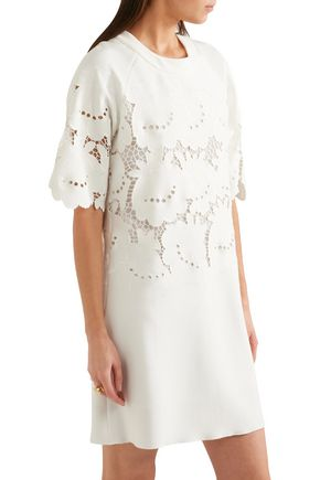 VICTORIA, VICTORIA BECKHAM Broderie anglaise stretch-cady mini dress
