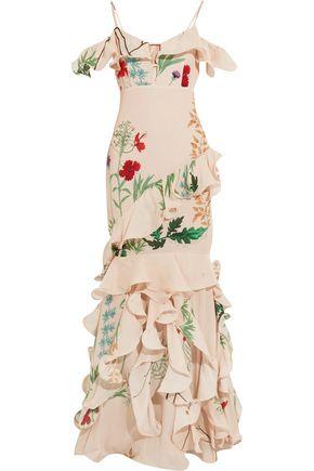 JOHANNA ORTIZ La Santa Maria ruffled printed silk gown