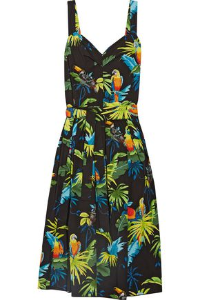 MARC JACOBS Pleated printed cotton-poplin midi dress