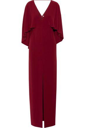 HALSTON HERITAGE Cape-back split-front crepe gown