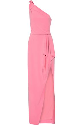 HALSTON HERITAGE One-shoulder ruffled crepe gown