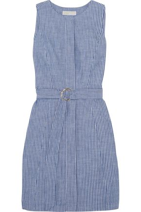 MICHAEL MICHAEL KORS Belted striped cotton-blend chambray mini dress