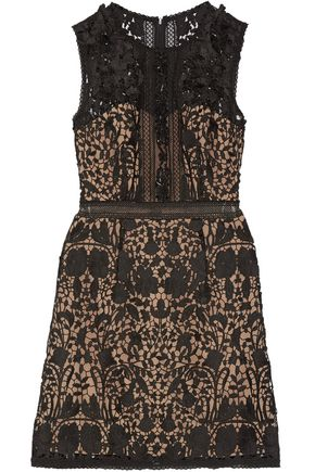 MARCHESA NOTTE Embellished guipure lace mini dress