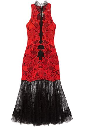 JONATHAN SIMKHAI Two-tone guipure lace midi dress