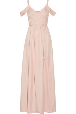 RACHEL ZOE Coleen off-the-shoulder ruched silk maxi dress