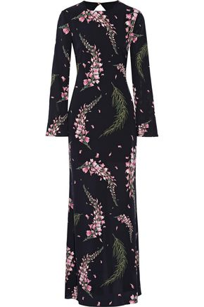 RACHEL ZOE Open-back floral-print silk-georgette gown