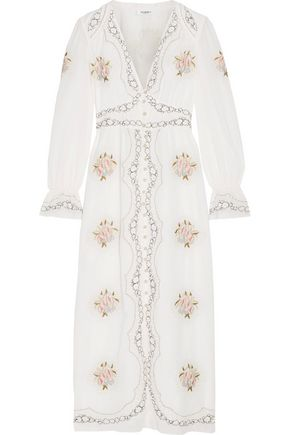 VILSHENKO Kora embroidered cotton-voile midi dress