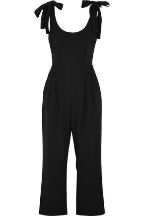 REBECCA VALLANCE Courtside cropped cutout crepe jumpsuit