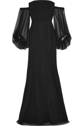 REBECCA VALLANCE Orlando off-the-shoulder point d'esprit and crepe gown