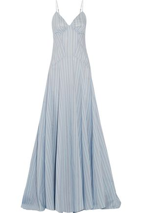 ROSIE ASSOULIN Negligee striped cotton and silk-blend gown