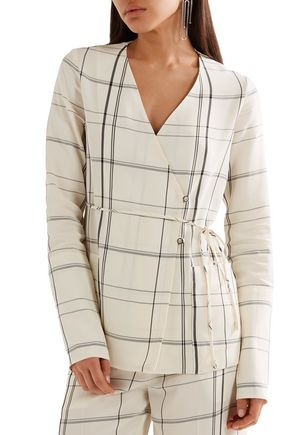 PROTAGONIST Checked twill wrap top
