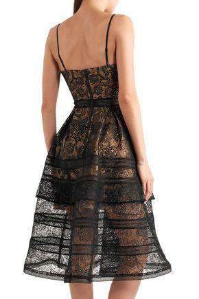 7a18ba1372be ... SELF-PORTRAIT Tiered paneled guipure lace dress