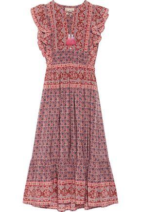 SEA Selene ruffled printed silk midi dress