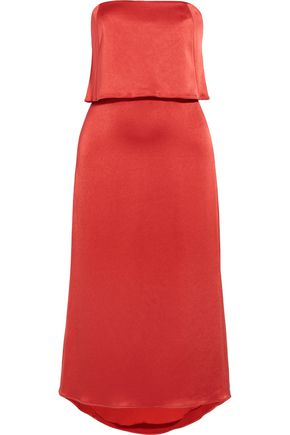 HALSTON HERITAGE Layered satin midi dress