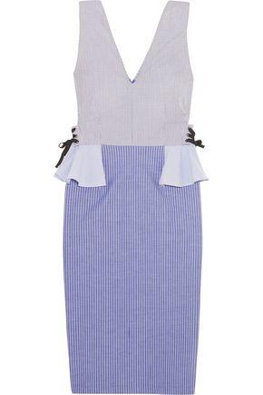 TOME Pinstriped stretch-cotton peplum dress