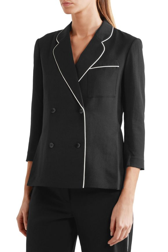 Spectator silk-trimmed woven blazer | TIBI | Sale up to 70% off | THE OUTNET