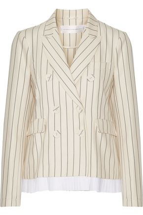 VICTORIA, VICTORIA BECKHAM Pleated striped wool and cotton-blend blazer