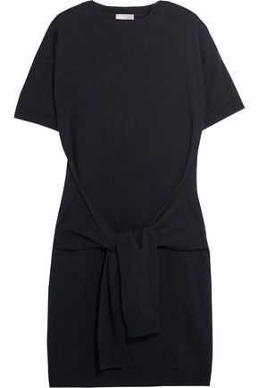 VINCE. Tie-front mélange cotton-terry dress