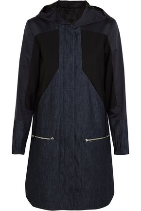 TIM COPPENS Denim, cotton and silk-blend and stretch-wool parka