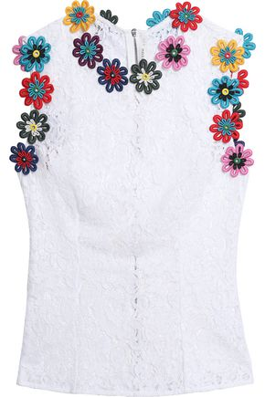 MARY KATRANTZOU Floral-appliquéd lace top