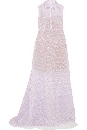 DELPOZO Metallic fil coupé organza gown