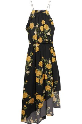 MAGDA BUTRYM Bergen asymmetric ruffled floral-print silk dress